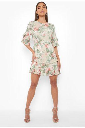 Boohoo Floral Print Ruffle Detail Skater Dress