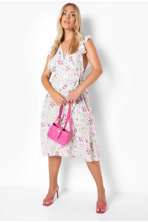 Boohoo Plus Mixed Floral Wrap Sleeveless Midi Dress