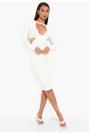 Boohoo Premium Rib Cut Out Twist Midi Dress