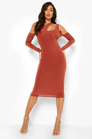 Boohoo Cross Strap One Sleeve Strappy Midi Dress
