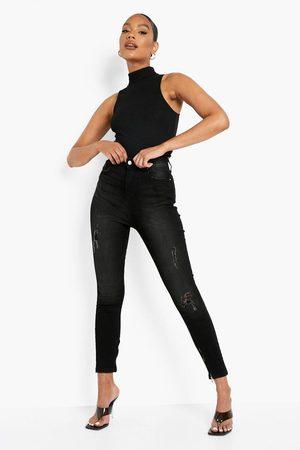 Boohoo Washed Denim Skinny Jeans With Zip Hem