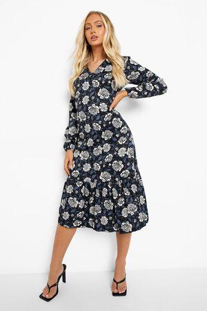 Boohoo Floral Print Drop Hem Mini Dress