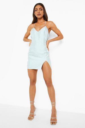 Boohoo Diamante Halterneck Strap Split Mini Dress