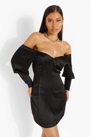 Boohoo Off Shoulder Extreme Puff Sleeve Mini Dress