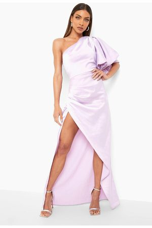 Boohoo Puff One Shoulder Side Split Maxi Dress