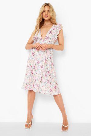 Boohoo Mixed Floral Wrap Sleeveless Midi Dress