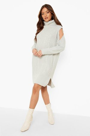Boohoo Cut Out Shoulder Cable Knitted Dress