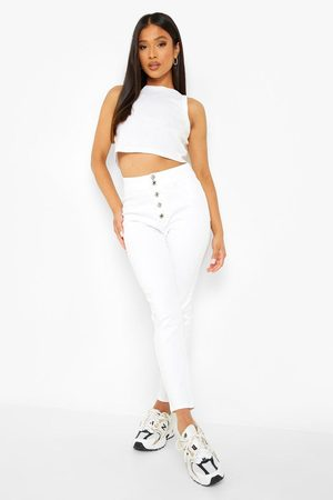 Boohoo Petite Button Front Skinny Disco Fit Jean