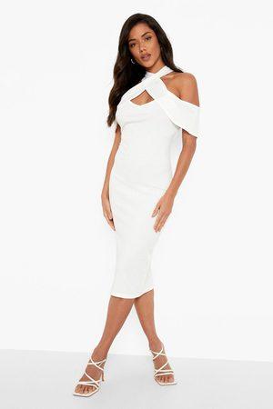 Boohoo Twist Halterneck Drape Sleeve Midi Dress