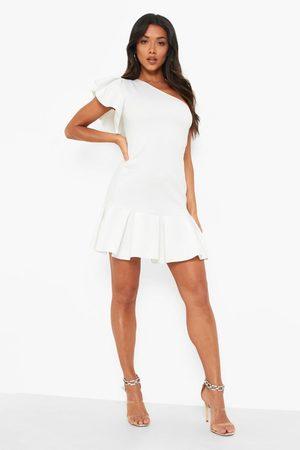 Boohoo One Shoulder Extreme Pleat Detail Mini Dress