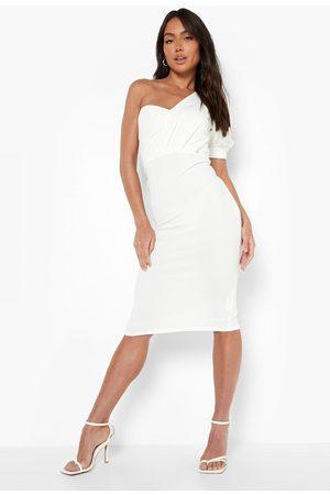 Boohoo One Shoulder Puff Sleeve Midi Dress