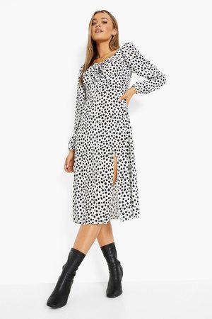 Boohoo Spot Print Sweat Heart Midi Dress
