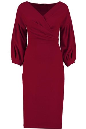 Boohoo Recycled Off The Shoulder Wrap Midi Dress