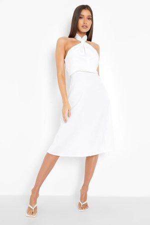 Boohoo Satin Halterneck Twist Midi Bridesmaid Dress