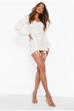Boohoo Cold Shoulder Puff Sleeve Ruched Dress
