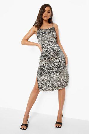 Boohoo Leopard Print Midi Slip Dress