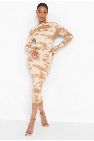 Boohoo Tie Dye Premium Rib Midaxi Dress