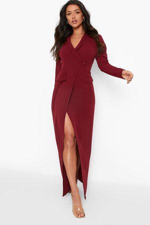Boohoo Pocket Detail Wrap Maxi Blazer Dress