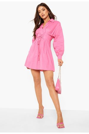 Boohoo Corset Detail Volume Sleeve Shirt Dress