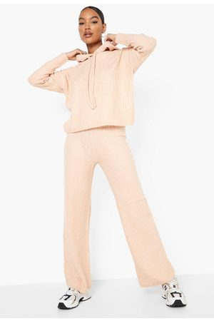 Boohoo Hooded Knitted Jumper And Trouser Set