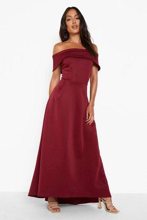 Boohoo Off The Shoulder Dip Hem Maxi Dress