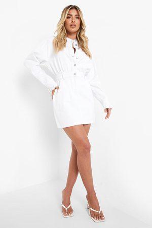 Boohoo Long Sleeved Button Front Denim Dress