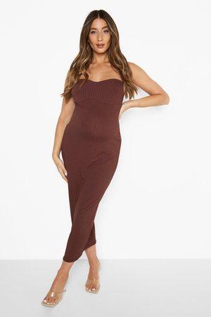 Boohoo Maternity Rib Contour Bodycon Midaxi Dress