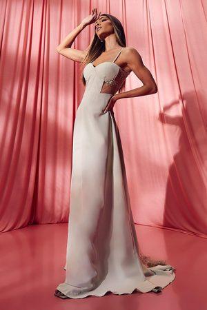 Boohoo Contrast Lace Corset Maxi Dress
