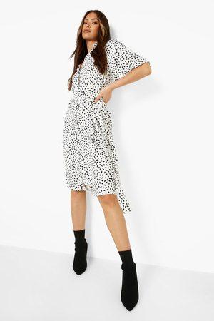 Boohoo Smudge Print Midi Shirt Dress