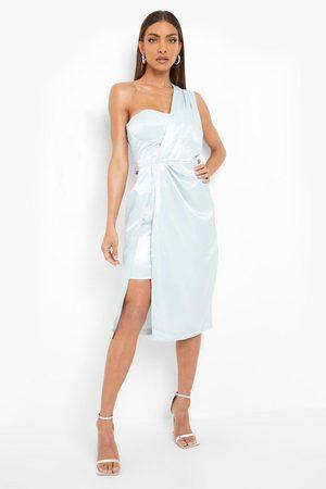 Boohoo One Shoulder Drape Midi Dress