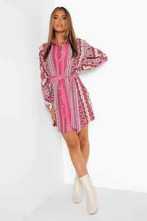 Boohoo Printed Satin Belted Shirt Dress