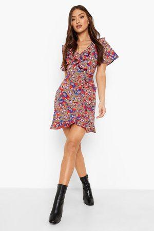 Boohoo Scarf Print Ruffle Tea Dress