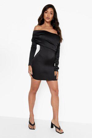 Boohoo Satin Off The Shoulder Mini Dress