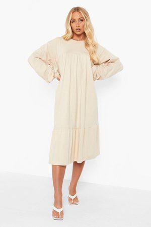 Boohoo Long Sleeve Midi Smock Dress