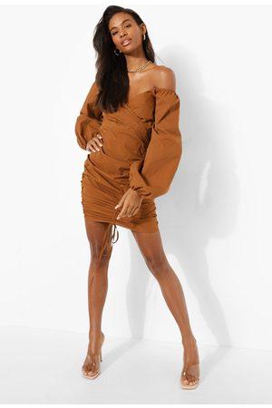 Boohoo Bardot Ruched Wrap Mini Dress