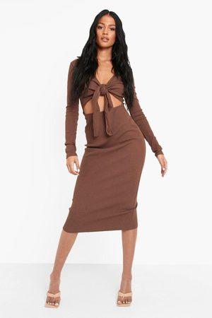 Boohoo Tall Heavy Rib Collared Tie Front Midi Dress
