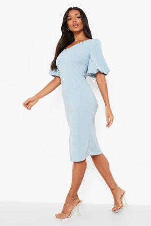 Boohoo Puff Sleeve Midi Dress