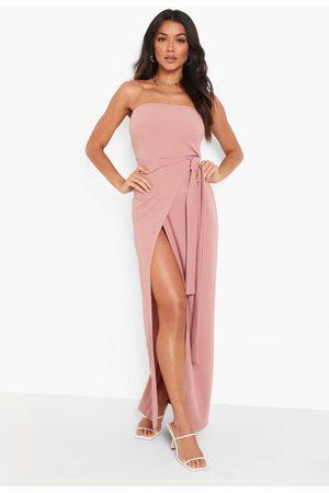 Boohoo Bandeau Wrap Maxi Dress
