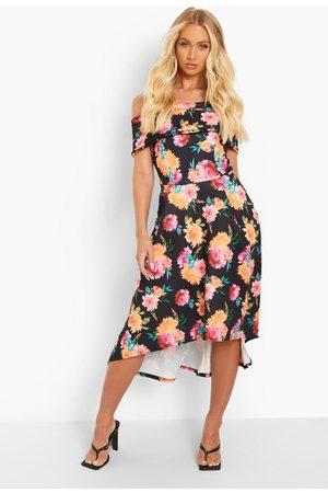 Boohoo Floral Off The Shoulder Dip Hem Skater Dress