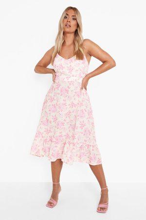 Boohoo Plus Floral Tie Back Midi Dress
