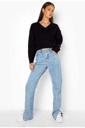 Boohoo Tie Back Cable Knit Crop Jumper