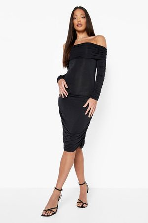 Boohoo Tall Ruched Off The Shoulder Bodycon Dress