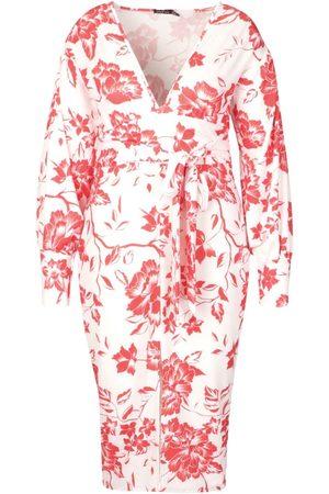 Boohoo Plus Floral Print Plunge Tie Waist Midi Dress