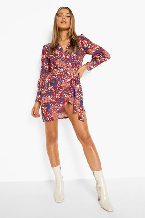 Boohoo Animal Print Wrap Blouson Sleeve Mini Dress