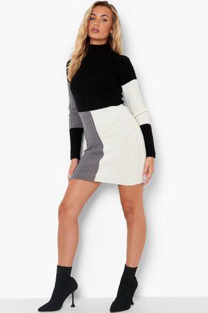 Boohoo Colour Block Rib Knit Dress
