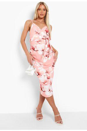 Boohoo Maternity Occasion Floral Wrap Frill Midi Dress