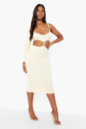 Boohoo Premium Rib Buckle Detail Midaxi Dress