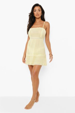 Boohoo Crinkle Trim Detail Beach Dress