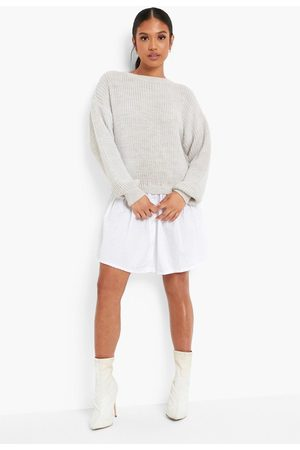 Boohoo Petite Knitted Jumper And Shirt Dress
