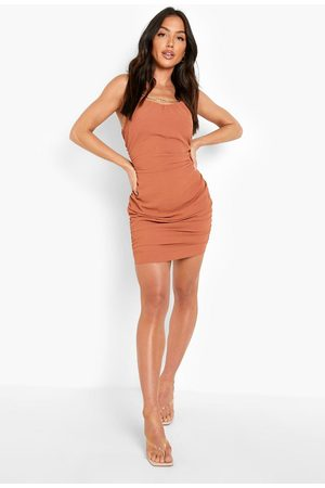 Boohoo Ruched Neck Strappy Mini Dress